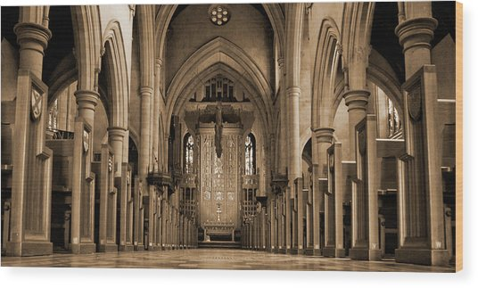 Church Aisle Wood Print