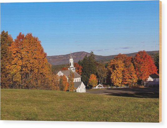 Church And Mountain Wood Print