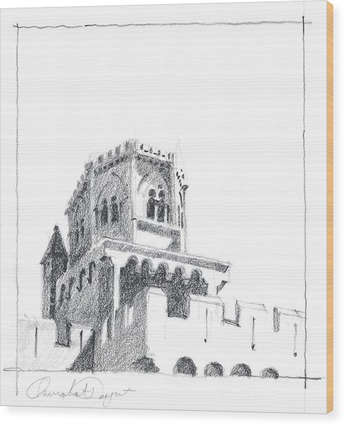 Church At Chamalieres Wood Print