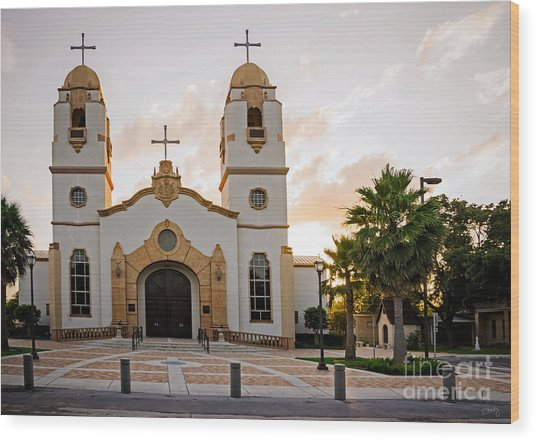 Church At Sunset Wood Print