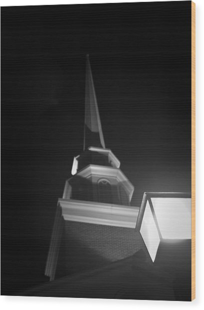 Church By Lamplight Wood Print