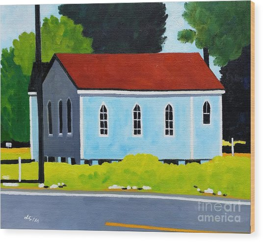 Church, Dailsville Rd Wood Print by Lesley Giles
