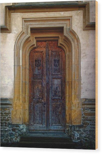 Church Door Sighisoara Wood Print