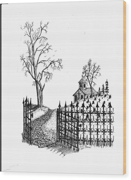 Church Grounds Wood Print