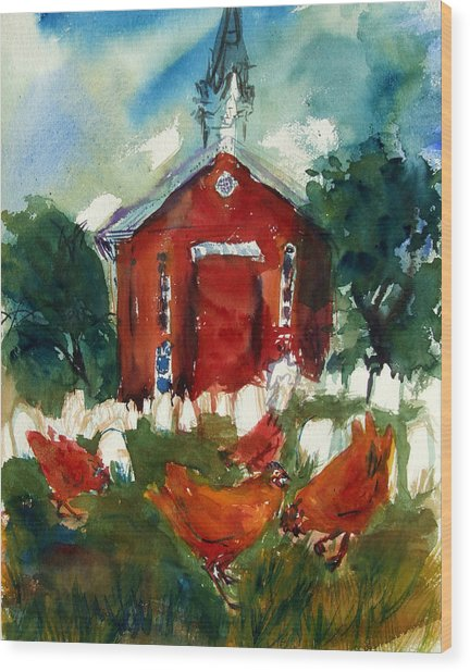 Church Hens Wood Print by Diana Ludwig