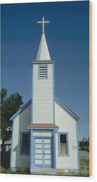 Church In Alaska Wood Print by Carl Purcell
