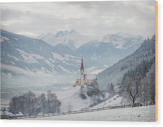 Church In Alpine Zillertal Valley In Winter Wood Print