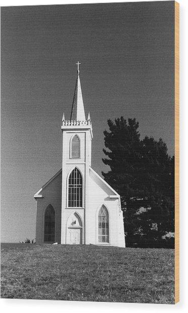 Church In Bodega Wood Print