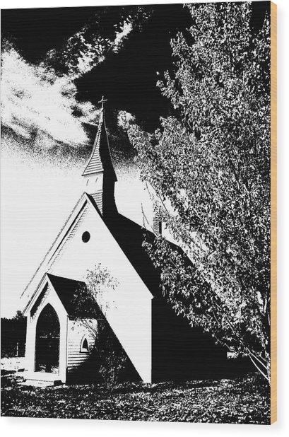 Church In Shadows Wood Print