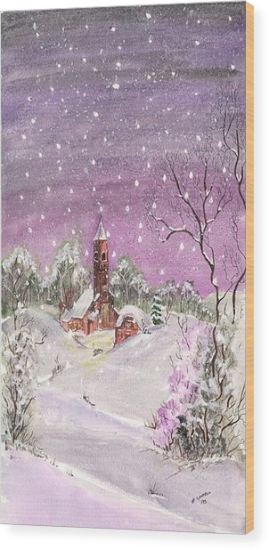 Wood Print featuring the digital art Church In The Snow by Darren Cannell