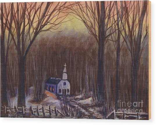 Church In The Woods  Wood Print
