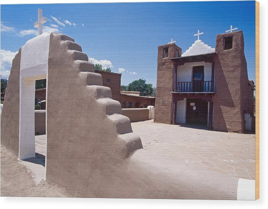 Church Of Taos Pueblo New Mexico Wood Print by George Oze