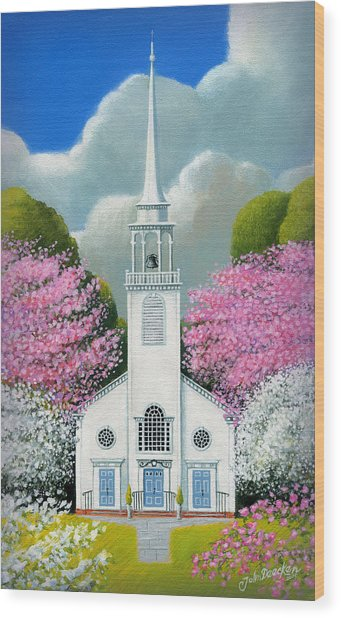 Church Of The Dogwoods Wood Print