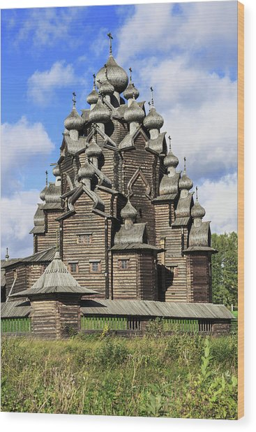 Church Of The Intercession Of The Blessed Virgin Mary, A Unique Monument Of Church Architecture Of A Wood Print