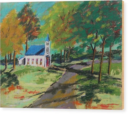 Church On The Bend Landscape Wood Print