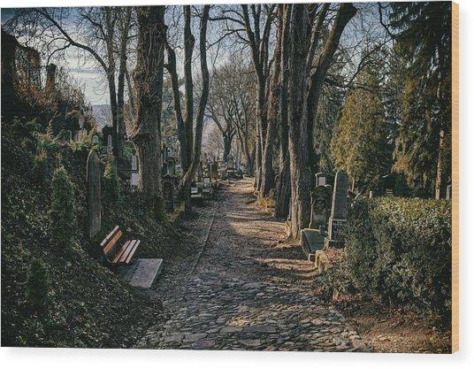 Church On The Hill Cemetery Wood Print