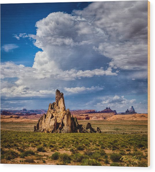 Wood Print featuring the photograph Church Rock Thunderhead by Rikk Flohr