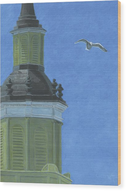 Church Steeple With Seagull Wood Print