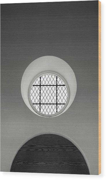 Church Window In Black And White Wood Print