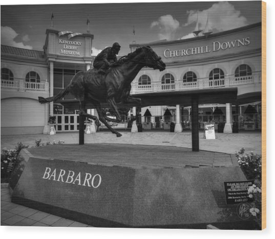 Wood Print featuring the photograph Churchill Downs 001 Bw by Lance Vaughn