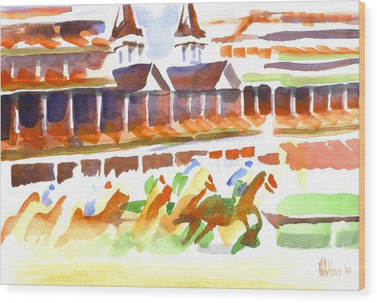 Churchill Downs Watercolor Wood Print
