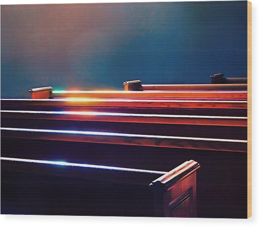 Churchlight -- Pews Under Stained Glass Wood Print