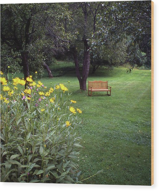 Churchyard Bench - Woodstock, Vermont Wood Print