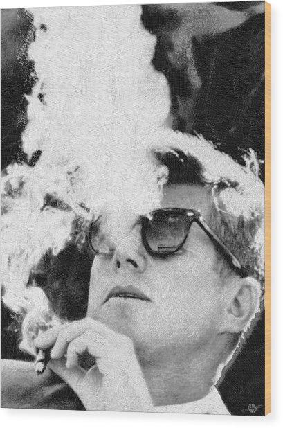 Cigar Smoker Cigar Lover Jfk Gifts Black And White Photo Wood Print