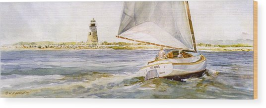 Cimba At Bird Island Light Wood Print