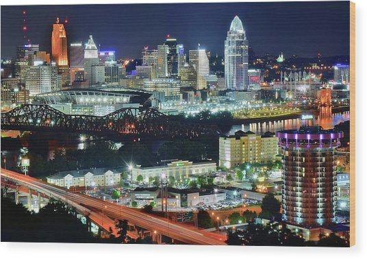 Cincinnati And Covington Collide Wood Print