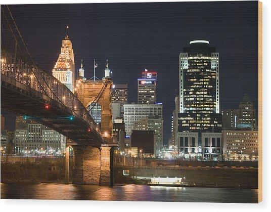 Cincinnati At Dusk Wood Print