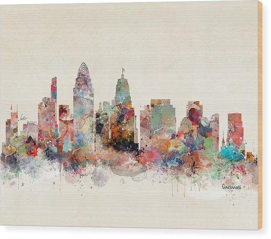 Cincinnati City Skyline Wood Print