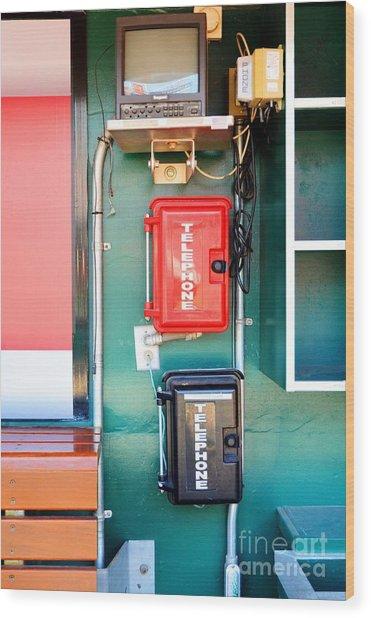 Cincinnati Reds Dugout Hotline Wood Print by Mel Steinhauer