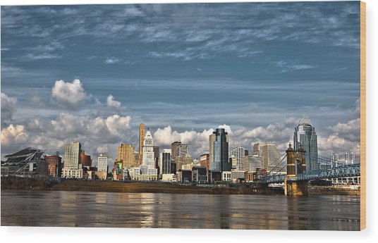 Cincinnati Skyline Hdr Wood Print