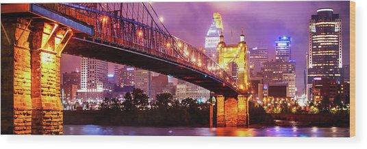 Cincinnati Skyline Panorama - Ohio - Usa Wood Print by Gregory Ballos