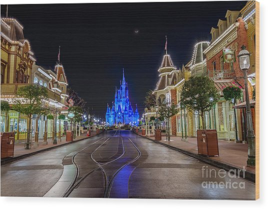 Cinderella Castle Glow Over Main Street Usa Wood Print
