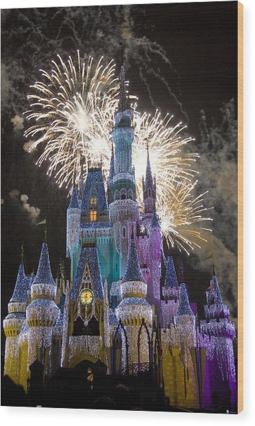 Cinderella Castle Spectacular Wood Print by Charles  Ridgway
