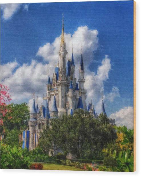 Cinderella Castle Summer Day Wood Print