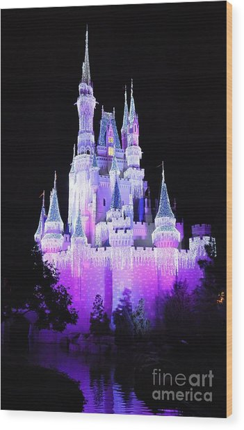 Cinderella's Holiday Castle Wood Print