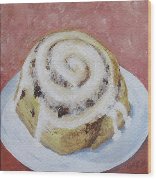 Wood Print featuring the painting Cinnamon Roll by Nancy Nale
