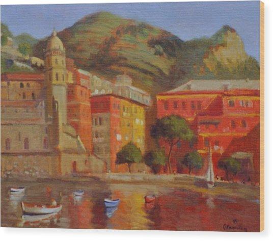 Cinqua Terra Italian Fishing Village Wood Print by David Olander
