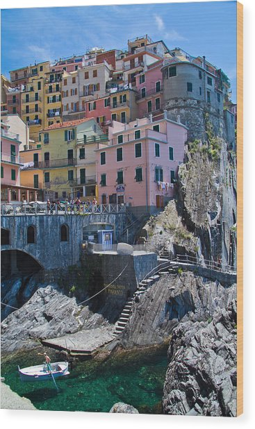 Cinque Terre Harbor And Town Wood Print