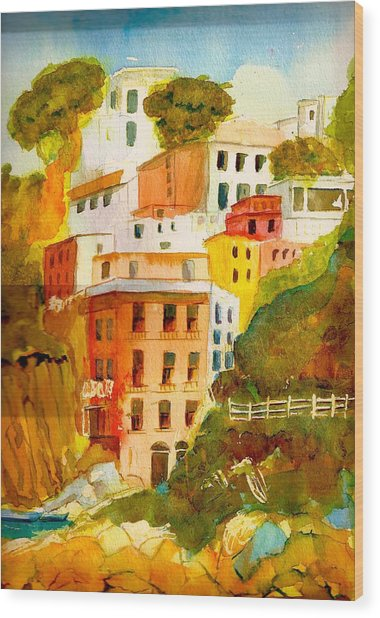 Cinque Terre Wood Print by KC Winters