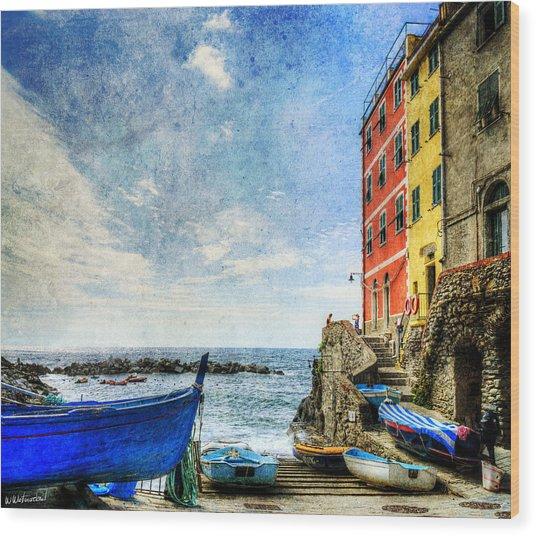 Cinque Terre - Little Port Of Riomaggiore - Vintage Version Wood Print