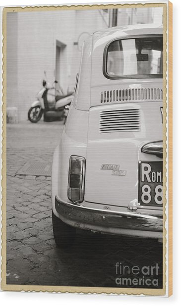 Cinquecento Black And White Wood Print