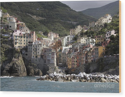 Cinqueterre From The Sea Wood Print