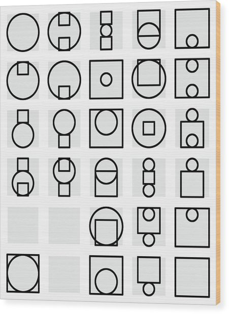 Circle And Square Alphabet - 24 Wood Print