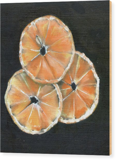 Circle Of Orange Wood Print by Penny Everhart