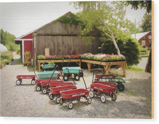Circle The Wagons Wood Print