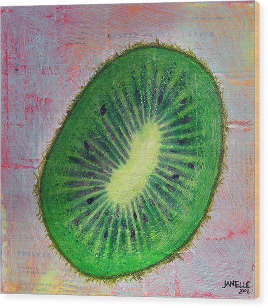 Circular Food - Kiwi Wood Print